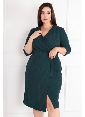 Sukienka Voxi SHINE szlafrokowa midi Plus Size butelkowa zieleń zielony