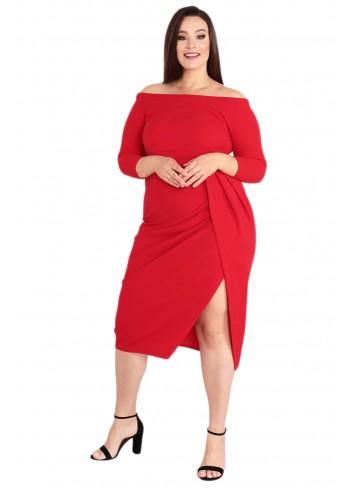 Sukienka Nola srebrna nitka midi na bal Karnawał Plus Size czerwony