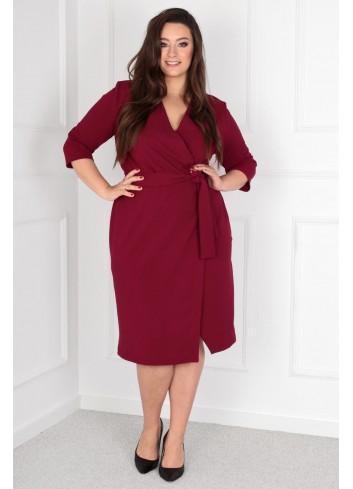 Sukienka Voxi szlafrokowa midi Plus Size bordowy
