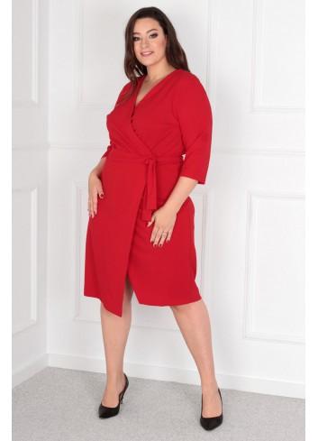 Sukienka Voxi szlafrokowa midi Plus Size czerwony