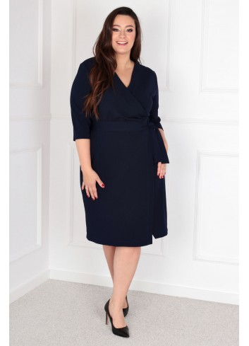 Sukienka Voxi szlafrokowa midi Plus Size granatowy