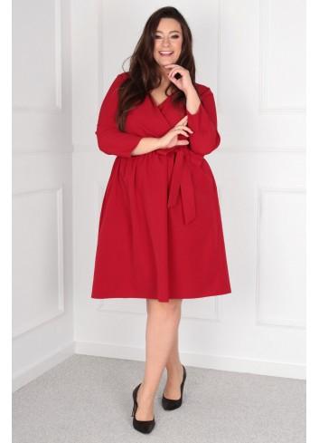 Sukienka Glasie Szlafrokowa midi Plus Size czerwony