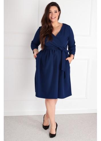 Sukienka Glasie Szlafrokowa midi Plus Size granatowy