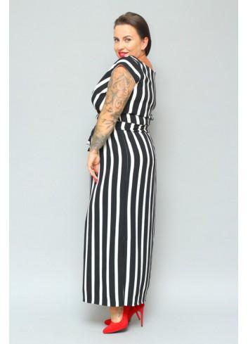 PROMOCJA -20% Sukienka maxi kopertowy dekolt paski Plus Size