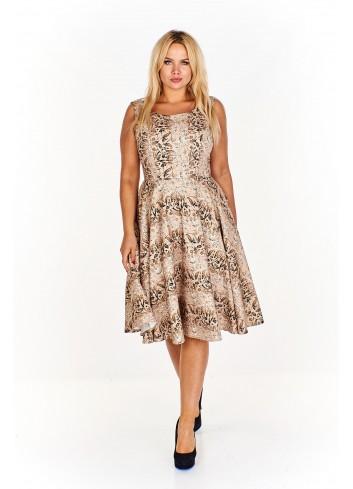 Sukienka we wzór z delikatnie rozkloszowanym dołem Plus Size