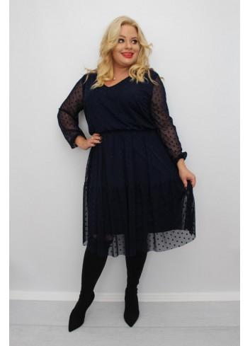 Stylowa granatowa sukienka midi wyjściowa Plus Size
