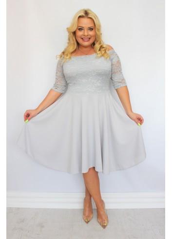 Sukienka na wesele rozkloszowana Plus Size Gładka