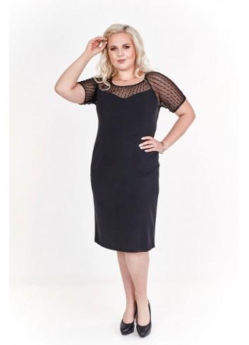 Klasyczna prosta sukienka mała czarna midi PLUS SIZE