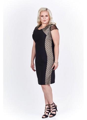 Elegancka sukienka z wstawkami po bokach dla puszystej XXL