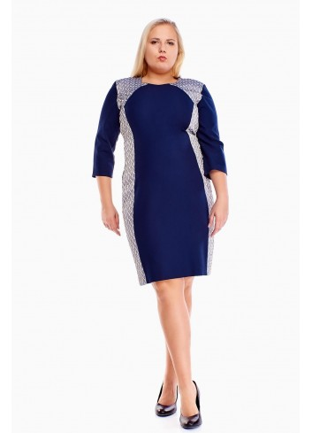 Elegancka sukienka z błyszczącymi wstawkami PLUS SIZE
