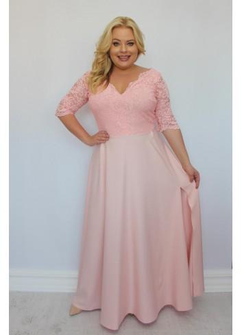 Sukienka maxi wieczorowa z gipiurą Duży rozmiar