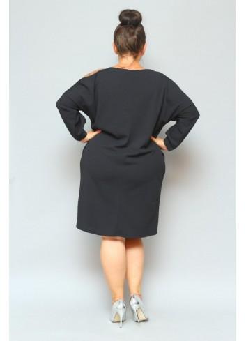 Sukienka oversize z cekinami gładka Plus Size