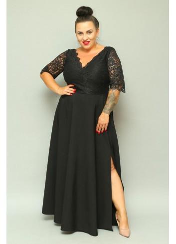 Sukienka maxi wieczorowa z koronką Duże rozmiary