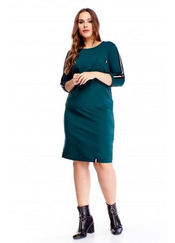 Bawełniana sukienka z lampasami na rękawach PLUS SIZE