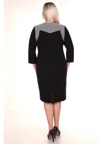 Ołówkowka sukienka z biało-czarnym dekoltem w kratkę XXL