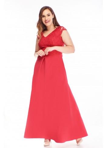 Sukienka maxi z haftowaną górą dla puszystych XXL