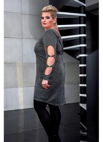 Wyjściowa sukienka z rozcięciami na rękawach PLUS SIZE