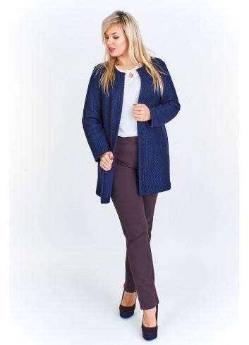 Pudełkowy elegancki płaszcz w wytłaczany wzór Plus Size