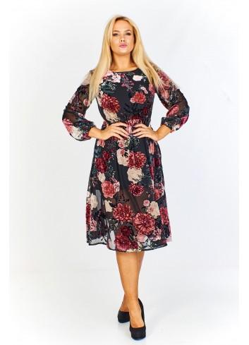 Sukienka w kwiatowy deseń z prześwitującej tkaniny