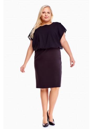 Ołówkowa sukienka z luźną górą dla puszystej PLUS SIZE