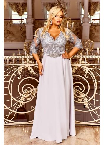 Wieczorowa sukienka maxi z gipiurową ozdobioną górą Plus Size