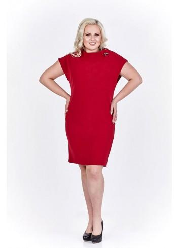 Sukienka z ozdobną broszką Plus Size