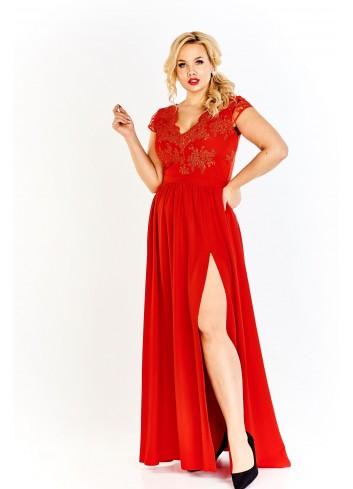 Wieczorowa sukienka maxi z koronkowym gorsetem Plus Size