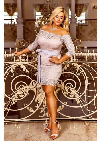 Koronkowa sukienka z wiązaniem w pasie hiszpanka PLUS SIZE