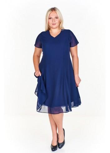 Koktajlowa sukienka ze zwiewnej tkaniny Plus Size