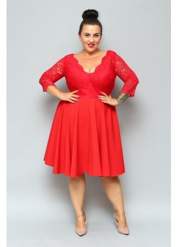 Wyjątkowa czerwona sukienka koronkowa na wesele PLUS SIZE