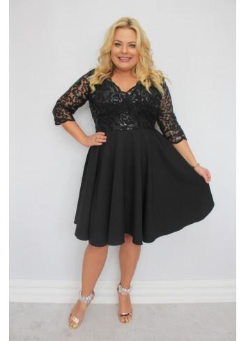 EKSKLUZYWNA czarna sukienka rozkloszowana cekiny listki Plus Size