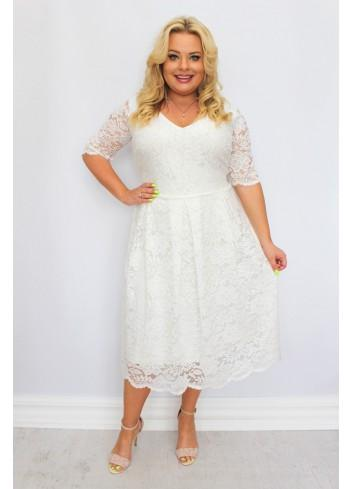 Sukienka koronkowa rozkloszowana na wesele w kwiaty Duża Plus Size