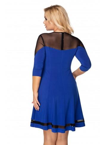 rozkloszowana sukienka z siateczkową wstawką na rękawach, dekolcie oraz na plecach