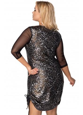 połyskująca sukienka z siateczkowymi rękawami i ściągaczem po bokach