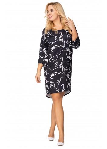 sukienka o nietoperzowym kroju z wydłużonym tyłem
