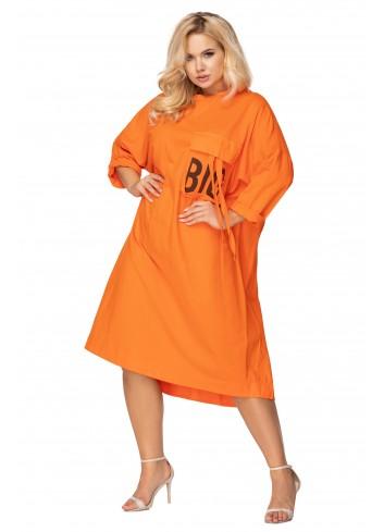 oversize'owa sukienka z łączonych materiałów z wydłużonym tyłem