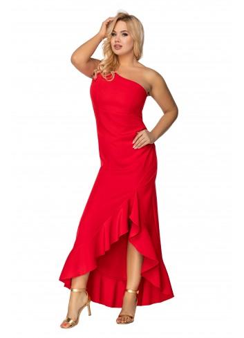 sukienka maxi na jedno ramię z asymetrycznymi falbanami na dole