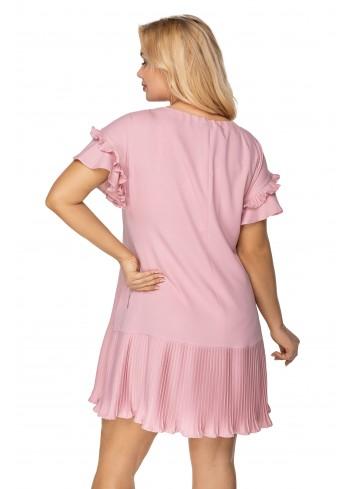 sukienka o kroju litery A z falbankami na rękawach oraz plisowanym dołem