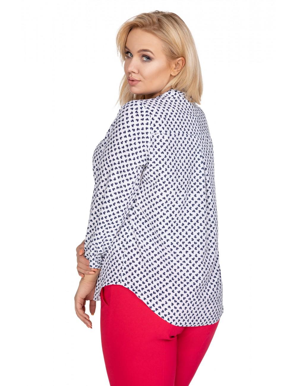 Zjawiskowa bluzka XXL o koszulowym kroju z modnym wiązaniem