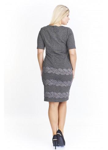 Ołówkowa sukienka z połyskującą aplikacją