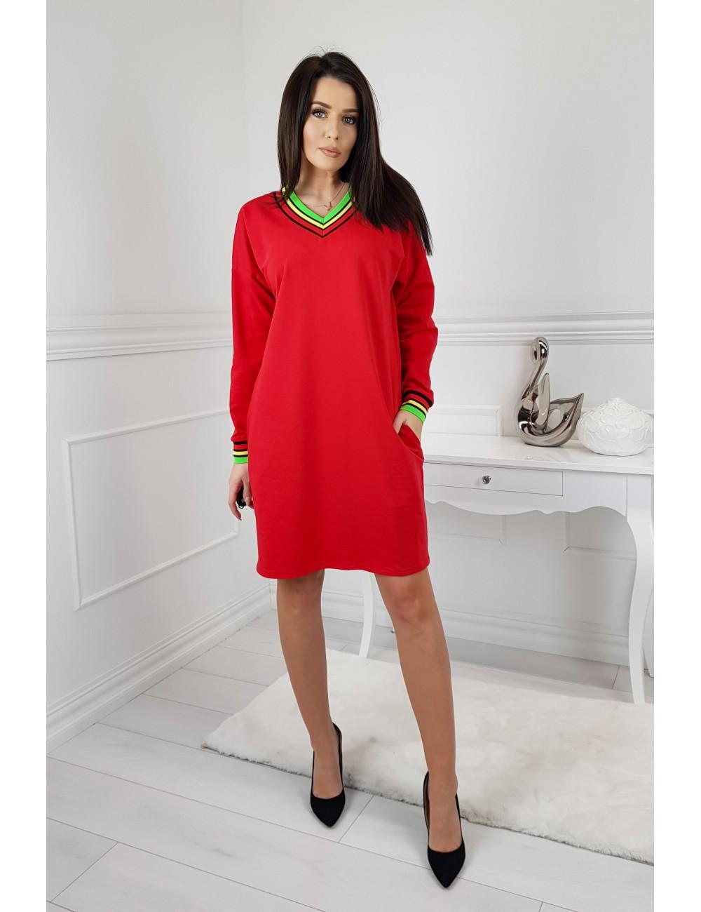 6cda0e5145 Dresowa sukienka Kolor Czerwony Rozmiar 3