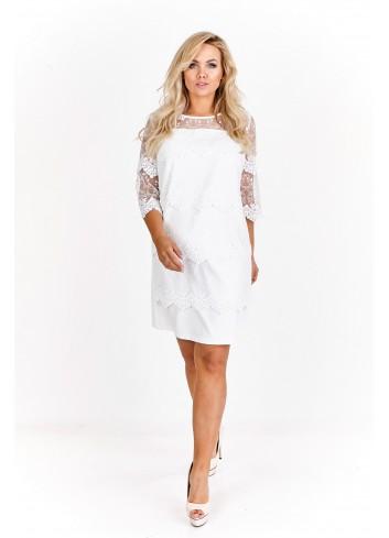 Sukienka z ażurowym przodem i rękawami