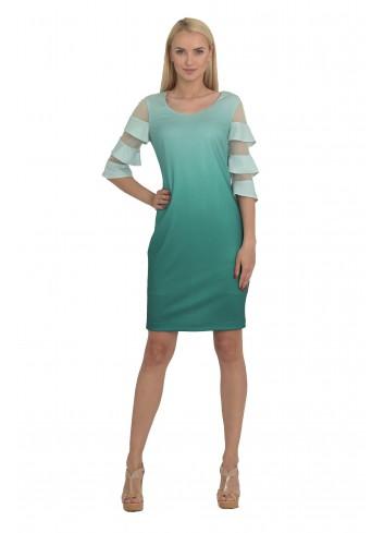 a6ed1dc0fc Melanżowa sukienka w kwiaty Kolor Granatowy Rozmiar 46
