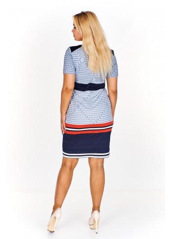 Dopasowana sukienka w geometryczne wzory Plus Size