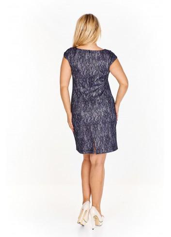 Koronkowa sukienka z połyskującą nitką Plus Size