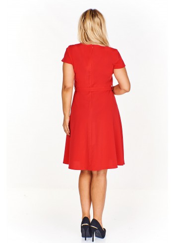 Rozkloszowana sukienka koktajlowa z krótkim rękawem Plus Size