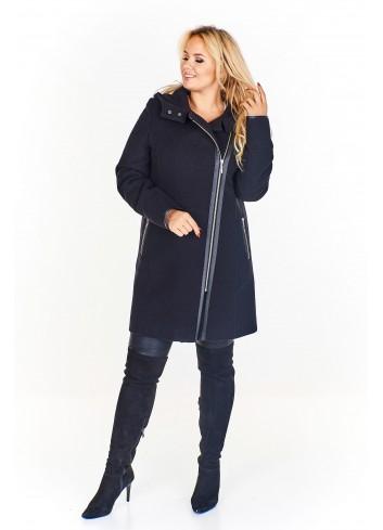 Płaszcz z kapturem i skórzanymi wstawkami