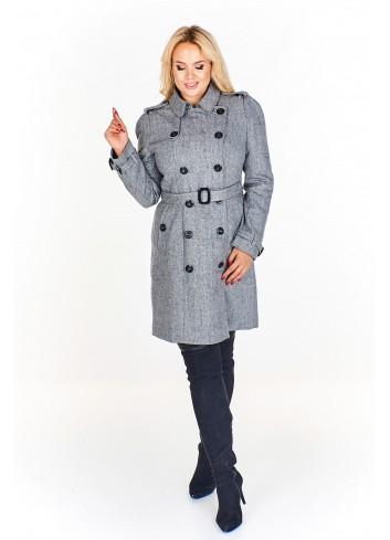 Płaszcz w stylu oficerskim zapinany na dwa rzędy guzików