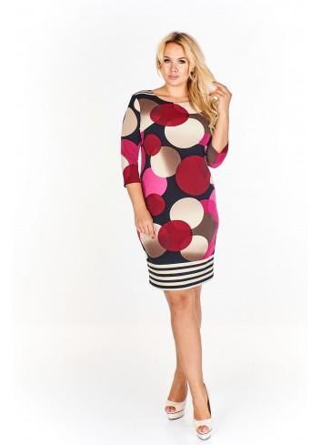 Sukienka w kolorowe koła Plus Size