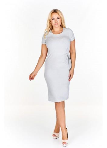 Sukienka do kolan z drapowaniem po boku i połyskującą nitką